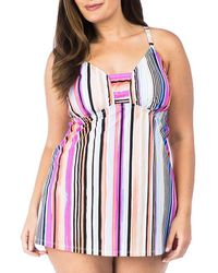 Kenneth Cole Reaction - Plus Over The Rainbow Long Tankini Top - Lyst