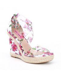 Betsey Johnson - Fraser Lucite Transparent Floral Wedge Sandals - Lyst