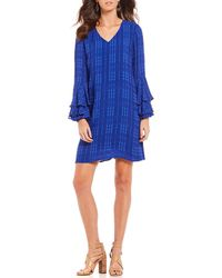 Sugarlips - Long Tiered Ruffle Bell Sleeve V-neck Tonal Plaid Shift Dress - Lyst
