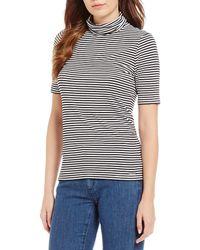 MICHAEL Michael Kors - Stripe Knit Jersey Short Sleeve Turtleneck Top - Lyst