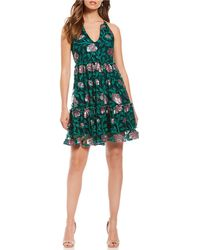 Belle By Badgley Mischka - Floral Embroidered Ruffle Tiered Cocktail Dress - Lyst