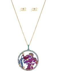 Betsey Johnson - Aquarius Zodiac Necklace And Earrings Set - Lyst