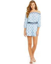 Skies Are Blue - Cold Shoulder Elastic Waist Romper - Lyst