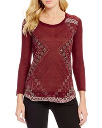 Miss Me - Studded Border Print Pullover Top - Lyst