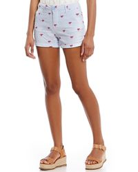 Freestyle - Seersucker Embroidered Icon Rolled Cuff Shorts - Lyst