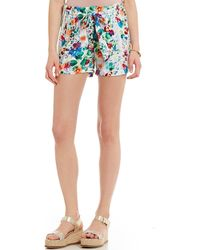 Freestyle - Floral Printed Alba Paperbag Waist Soft Shorts - Lyst