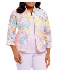 Ruby Rd. - Plus Button Front Painterly Brushstroke Print 3/4 Sleeve Jacket - Lyst