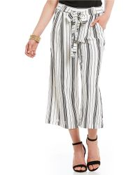 Skies Are Blue - Stripe Tie Front Culotte Pants - Lyst