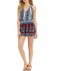 Patrons Of Peace - Paisley-printed Halter Neck Romper - Lyst