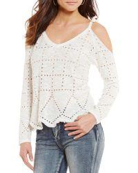 Banjara - Open Lace Long-sleeve Cold Shoulder Top - Lyst
