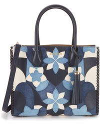 b2a2f8515426 Calvin klein Patchwork Leather Tote in Black