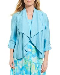 Ruby Rd | Petites Roll-tab Sleeve Open Front Luster Shantung Jacket | Lyst