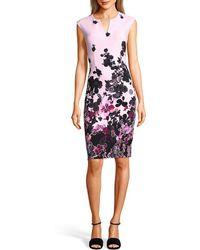 Adrianna Papell - Floral Sheath Dress - Lyst