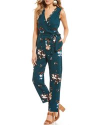 June & Hudson - V-neck Floral Jumpsuit - Lyst