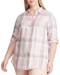 3cda437cad Lyst - Lauren by Ralph Lauren Plus Size Equestrianprint Peplum Shirt ...