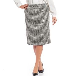 Tahari - Plus Size Chain-belted Boucle Pencil Skirt - Lyst