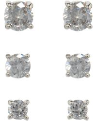 Dillard's - Boxed Collection Round-cut Cubic Zirconia Trio Earring Set - Lyst