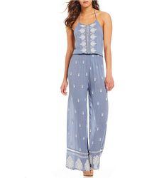 Chelsea & Violet - Embroidered Halter Jumpsuit - Lyst