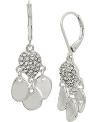 Kenneth Cole - Silver And Crystal Stone Shakey Drop Earrings - Lyst