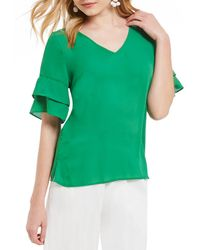 Skies Are Blue - Solid Ruffle Sleeve Blouse - Lyst