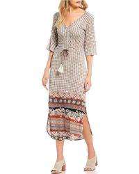 Patrons Of Peace - Mixed Print Long Sleeve Midi Dress - Lyst