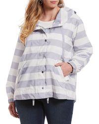 2413bb8965f Jones New York - Plus Size Hooded Stripe Anorak Jacket - Lyst