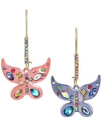 Betsey Johnson - Two-tone Multi-stone Butterfly Drop Earrings - Lyst