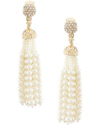 Anne Klein - Pearl Tassel Clip Earrings - Lyst