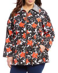 Ruby Rd. - Plus Size Pansy Garden Floral Print Taffeta Portrait Collar Zip Front Jacket - Lyst