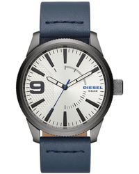 DIESEL - Men's Rasp Nsbb Gunmetal And Blue Leather Watch - Lyst
