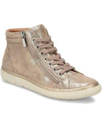 Söfft - Annaleigh Distressed Metallic Foil Suede Outside Zip High Top Sneakers - Lyst
