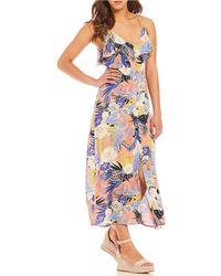 Sanctuary - Isabella Floral Print Flounce Button Down Midi Dress - Lyst