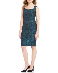 Kasper - Metallic Jacquard Animal Print Sheath Dress - Lyst