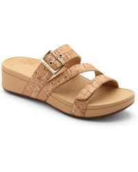 Vionic - Rio Gold Cork Wedge Slides - Lyst
