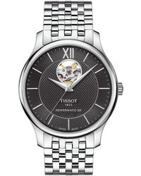 Tissot - T-classic Tradition Powermatic 80 Open Heart Bracelet Watch - Lyst