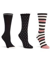 Kate Spade - 3pk Stripe Crew Socks - Lyst