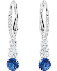 Swarovski - Attract Trilogy Round Pierced Earrings (blue) Earring - Lyst