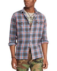 ced760cd1 ... discount code for polo ralph lauren plaid long sleeve woven workshirt  lyst 01d5c bf647