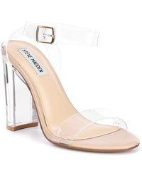b62fc0c45a6 Steve Madden - Camille Lucite Clear Block Heel Dress Sandals - Lyst