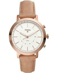 Fossil - Q Neely Leather-strap Hybrid Smartwatch - Lyst