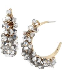 Kenneth Cole - Woven Crystal Faceted Bead Hoop Earrings - Lyst