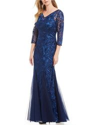 Alex Evenings - Embroidered Illusion Neckline Godet Long Gown - Lyst