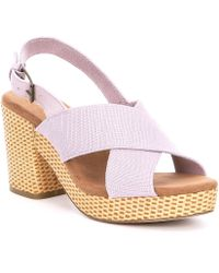 380840c743fa Lyst - TOMS Strappy Canvas Wedge Sandal in Black