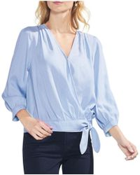 Vince Camuto - Side Tie Faux Wrap Style Novelty Shirting Top - Lyst