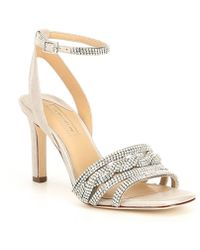 c2d3fd55285 Antonio Melani - Petrina Metallic Leather   Rhinestone Dress Sandals - Lyst