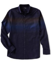 Murano - Slim-fit Placed Jacquard Long-sleeve Woven Shirt - Lyst