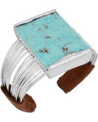 Robert Lee Morris - Turquoise & Suede Multi-row Cuff Bracelet - Lyst