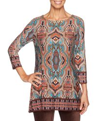 Ruby Rd. - Embellished Scoop Neck Nouveau Festival Placement Print Top - Lyst
