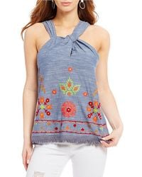 Banjara - Front Knot Embroidered Top - Lyst