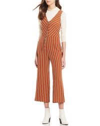 Sugarlips - Lace-up Striped Cropped Jumpsuit - Lyst